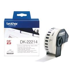 Brother DK Labels DK-22214 (12mm x 30.48m) Continuous Paper Tape (Black On White) 1 Roll