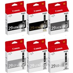 Canon PGI-29 Ink Cartridges (Matte Black, Photo Black, Dark Grey, Grey, Light Grey, Chroma Optimiser)