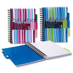 Pukka Pad Project Book Wirebound Perforated Ruled 3-Divider 80gsm 250pp A5 Assorted Ref PROBA5 - Pack 3 - 3 for 2