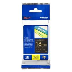 Brother P-touch TZe-344 (18mm x 8m) Gold On Black Laminated Labelling Tape