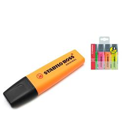 Stabilo Boss Highlighters Chisel Tip 2-5mm Line Orange Ref 70/54/10 - Pack 10 - FREE Assorted Highlighters 4 Pack