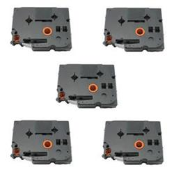Brother HGE231V5 (12mm) Black On White Labeling Tape (Pack of 5) High Grade