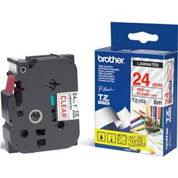 Brother P-touch TZ-152 (24mm x 8m) Red On Clear Gloss Laminated Labelling Tape
