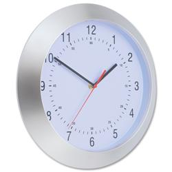 Wall Clock with Coloured Case Diameter 300mm Silver