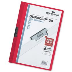 Durable Duraclip Folder PVC Clear Front 3mm Spine for 30 Sheets A4 Red Ref 2200/03 - Pack 25