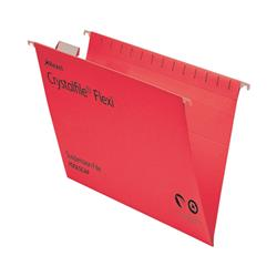 Rexel Crystalfile Flexifile Foolscap Suspension File Manilla V-base Red Ref 3000042 - Pack 50