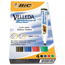 Bic Velleda 1701/1704 Whiteboard Marker Bullet Tip Line Width 1.5mm Assorted Ref 1199001704 - Pack 4