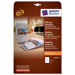 Avery Brochure Paper A4 folds on Long Edge White 99x210mm 190 gsm Ref C32290-25.UK - 25 Sheets