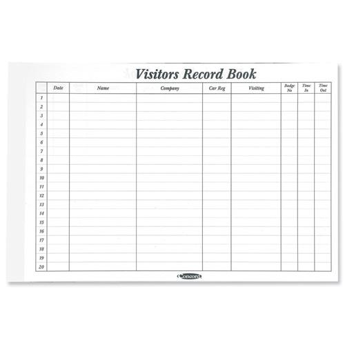 Buy concord cd14p white 50 sheet refill for visitors book for Visitor sign in register template