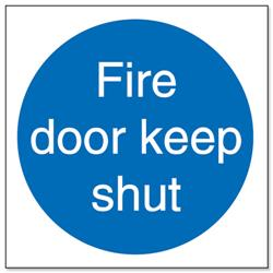 Stewart Superior Fire Door Keep Shut Self Adhesive Sign Ref M014SAV - Pack 5