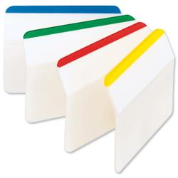 3M Post-It Index Filing Tabs Strong Angled Six Each of 4 Colours Assorted Ref 686-A1 - Pack 6