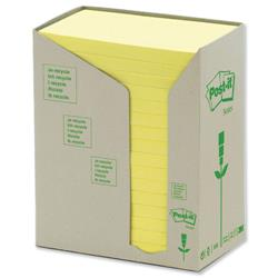 Post-it Notes Pads Recycled Unbleached in Carton Packaging 76x127mm Pastel Yellow Ref 655-1T - Pack 16