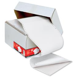 5 Star Office Listing Paper Carbonless Perforated 55/55gsm 11inchx241mm Plain White/White [1000 Sheets]