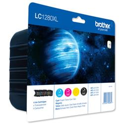 Brother LC1280XL Black/Cyan/Magenta/Yellow Ink Cartridge Value Pack Page Yield 2400pp Ref LC1280XLVALBP - 4 Colours