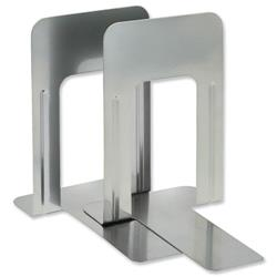 5 Star Office Large Bookends Metal Silver [Pack 2]