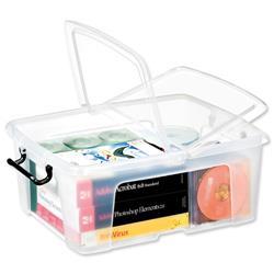 Strata HW673 24 Litre Smart Storemaster Box Folding Lid  & Clip Handles Clear Ref HW673CLR