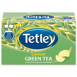 Tetley Tea Bags Green Tea with Lemon Individually Wrapped Ref 1296 - Pack 25