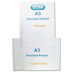 Elba Pocket Polypropylene Multipunched Top-opening A3 Portrait Clear Ref 400005480 - Pack 25