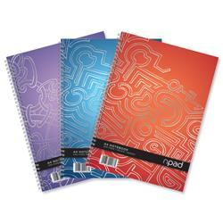 Oxford npad Modern Notebook Twin Wirebound 80gsm Ruled Margin 4 Holes 200pp A4+ Ref 100080105 - Pack 3