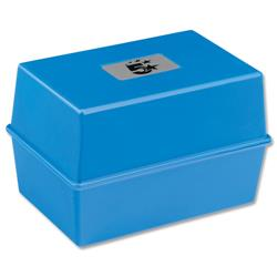 5 Star Office Card Index Box Capacity 250 Cards 6x4in 152x102mm Blue