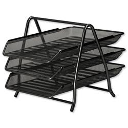 Mesh Letter Tray 3 Tier Scratch Resistant Stackable Front Load Portrait Foolscap Black