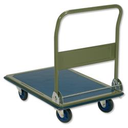 5 Star Facilities Platform Truck Heavy-duty Capacity 300kg Baseboard W616xL916mm Blue and Grey