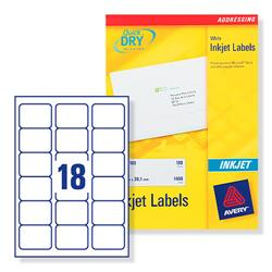 Avery J8161 Inkjet Address Labels 63.5x46.6mm 450 Labels White Ref J8161-25 - 25 Sheets
