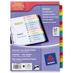 Avery ReadyIndex Dividers Card with Coloured Contents Sheet Matching Mylar Tabs A-Z Ref 02003501.UK