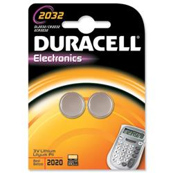 Duracell DL2032 Battery Lithium for Camera Calculator or Pager 3V Ref 75072668 - Pack 2