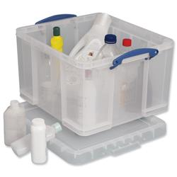 42 Litre  Really Useful Acrylic Storage Box Lightweight Robust Stackable Clear Ref 42C