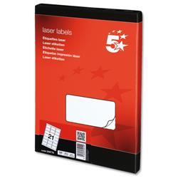5 Star Office Multipurpose Labels Laser 21 per Sheet 63.5x38.1mm White [2100 Labels]
