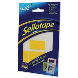 Sellotape Sticky Fixers Removable Double-sided 20x50mm 10 Pads Ref 1445286 - Pack 12