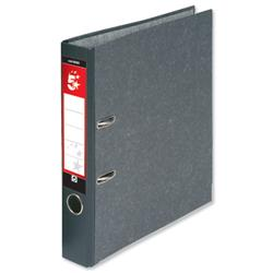 5 Star Office Mini Lever Arch File 50mm Spine Foolscap Cloudy Grey [Pack 10]
