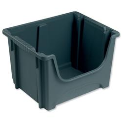 Space Bin Container Stackable Capacity 50 Litre 15kg Load W495xD390xH320mm Grey
