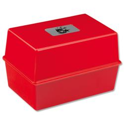 5 Star Office Card Index Box Capacity 250 Cards 6x4in 152x102mm Red