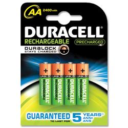 Duracell Stay Charged Battery Long-life Rechargeable 1950mAh AA Size 1.2V Ref 81364752 [Pack 4]