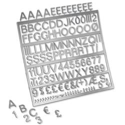 Nobo Spare Characters Assorted for Letter Boards 19mm Silver Ref 1901937 - Pack 250