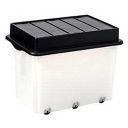 Strata Storemaster Mega Crate and Folding Lid on 6 Wheels 105 Litres 710x495x4545mm Clear Ref HW333CLR