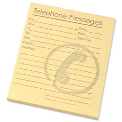 Telephone Message Pad 80 Sheets 127x102mm Yellow Paper [Pack 10]