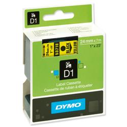 Dymo D1 Tape for Labelmakers 24mmx7m Black on Yellow - 53718 S0720980.