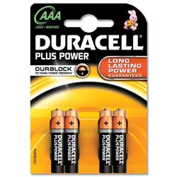 Duracell Plus Battery Alkaline AAA Size 1.5V Ref MN2400B4 - Pack 4