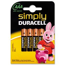 Duracell MN2400 Simply AAA Battery Ref 81235219 - Pack 4