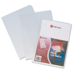 Rexel Nyrex 80 Twin Wallet with 2 Vertical Inside Pockets A4 Clear Ref 12195 - Pack 25