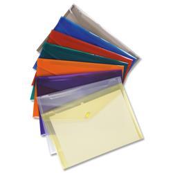 5 Star Office Envelope Wallet Polypropylene A4 W235mmxD335mm Translucent Assorted [Pack 25]