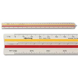 Rotring Triangular Reduction Scale Ruler 1 Architect 1-10 to 1-1250 with 2 Coloured Flutings Ref S0220481
