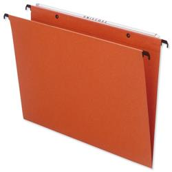 Bantex Linking Suspension File Manilla Square Base 30mm Capacity Foolscap Orange Ref100330687 - Pack 25