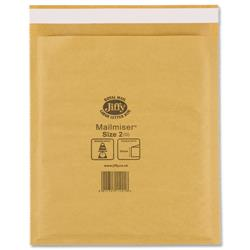 Jiffy Mailmiser No.2 Gold Bubble-lined Protective Envelopes 205x245mm Ref JMM-GO-2 - Pack 100