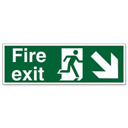 Stewart Superior Fire Exit Sign Man and Arrow Down Right 450x150mm Self-adhesive Vinyl Ref SP123SAV