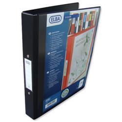 Elba Vision Ring Binder PVC Clear Front Pocket 2 O-Ring Size 25mm A4 Black Ref 100080891 [Pack 10]