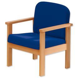 Trexus Reception Armchair Beech Cushioned Backrest H430mm Seat W570xD580xH410mm Blue